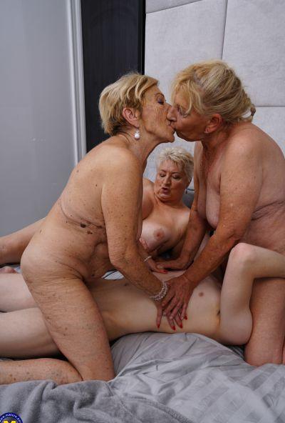 Photo №18 Three grandmas fuck a young male