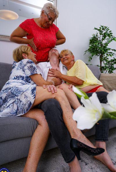 Photo №2 Three grandmas fuck a young male