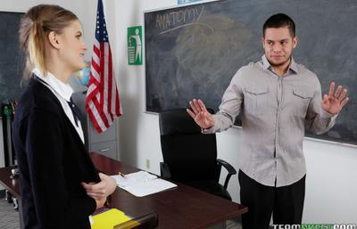 Photo №1 Lustful schoolgirl Scarlett Fever undressed and seduced the teacher in the classroom