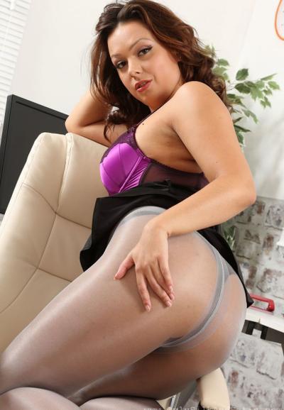 Photo №11 MILF secretary Alicia bared her boobs posing in pantyhose