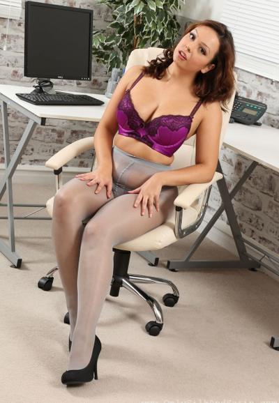Photo №15 MILF secretary Alicia bared her boobs posing in pantyhose