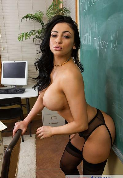 Photo №13 Sexy MILF teacher in hot lingerie and stockings Audrey Bitoni strips off at school