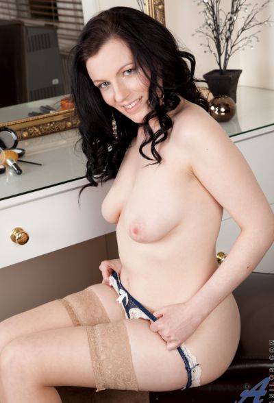 Photo №8 Middle-aged wife in stockings Charisma Jones reveals her saggy tits and shaved pussy
