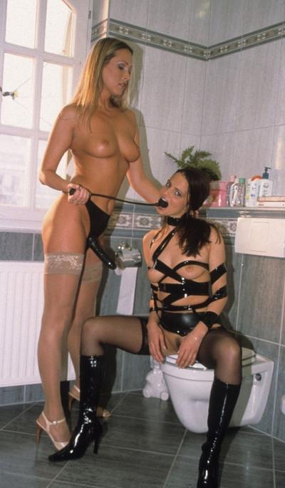 Photo №7 Threesome BDSM sex with two sluts in the toilet