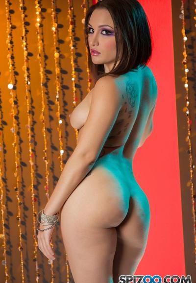 Photo №14 Sexy stripper Gabriella Paltrova takes off her blue lingerie and poses near the pole
