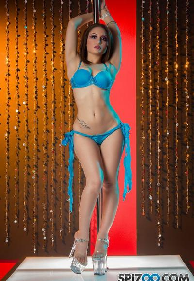 Photo №2 Sexy stripper Gabriella Paltrova takes off her blue lingerie and poses near the pole