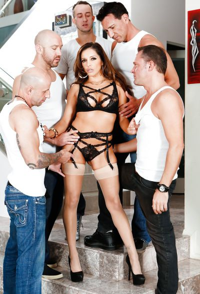 Photo №12 Busty MILF Francesca Le in stockings is preparing for gangbang