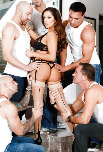 Photo №13 Busty MILF Francesca Le in stockings is preparing for gangbang