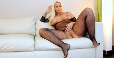 Photo №4 Blonde BBW in a crotchless bodystocking gets fucked by a black man