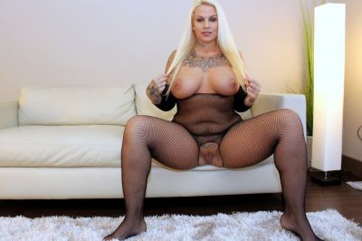 Photo №6 Blonde BBW in a crotchless bodystocking gets fucked by a black man