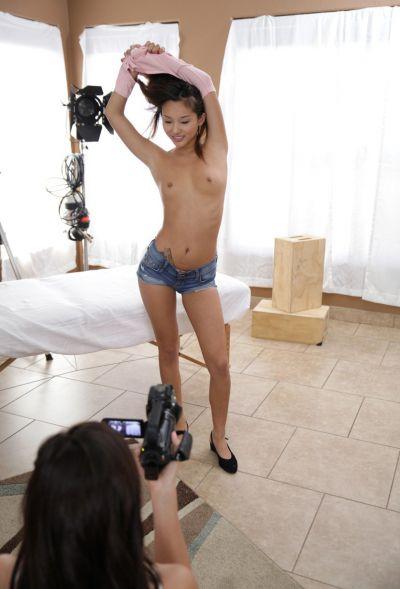 Photo №2 Holly Michaels shoots porn with Asian Alina Li on camera and masturbates