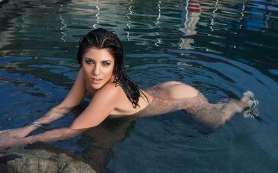 Photo №12 Beautiful wet brunette girl Elle Georgia by pool