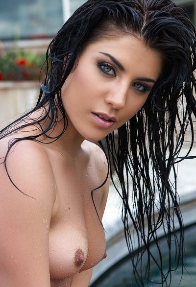 Photo №16 Beautiful wet brunette girl Elle Georgia by pool