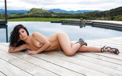 Photo №5 Beautiful wet brunette girl Elle Georgia by pool