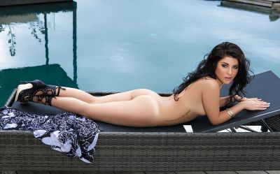 Photo №7 Beautiful wet brunette girl Elle Georgia by pool