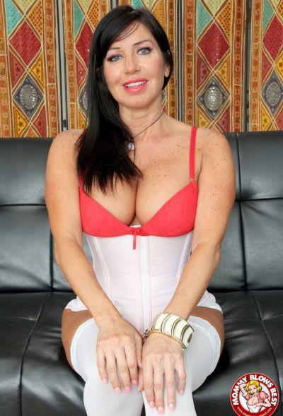 Photo №1 Sexy MILF in white stockings Tara Holiday sucks dick and licks balls