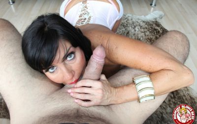 Photo №12 Sexy MILF in white stockings Tara Holiday sucks dick and licks balls