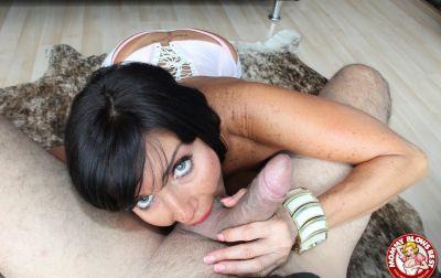 Photo №13 Sexy MILF in white stockings Tara Holiday sucks dick and licks balls