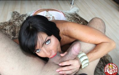 Photo №14 Sexy MILF in white stockings Tara Holiday sucks dick and licks balls