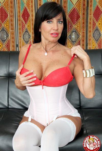 Photo №5 Sexy MILF in white stockings Tara Holiday sucks dick and licks balls
