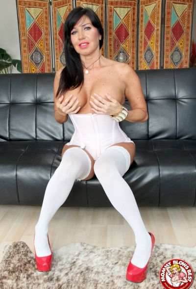 Photo №6 Sexy MILF in white stockings Tara Holiday sucks dick and licks balls
