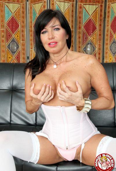 Photo №7 Sexy MILF in white stockings Tara Holiday sucks dick and licks balls