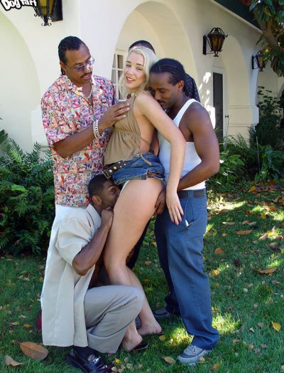 Photo №2 A crowd of black men fuck a blonde hard