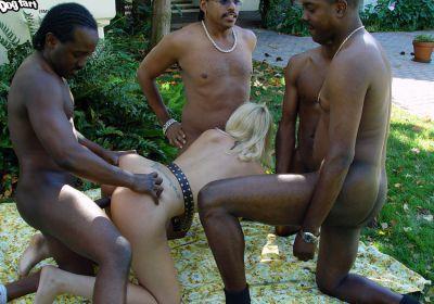 Photo №4 A crowd of black men fuck a blonde hard